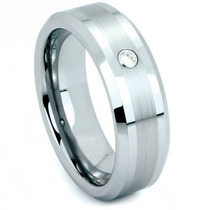 Tb Anillo Gay Tungsten Brushed Satin Cz Comfort Fit Band, Si