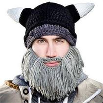 Gorro Pasamontañas Casco Vikingo Con Barba