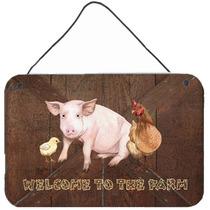 Bienvenido A La Granja Con El Cerdo Y El Pollo En La Pared O