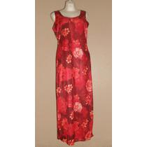 No Boundaries! Precioso Vestido Largo Rojo Estampado, T-15 G