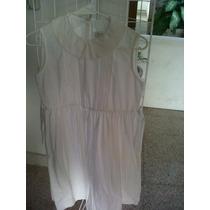 Bonito Vestido Blanco Económico P/niña T.12 100% Algodón