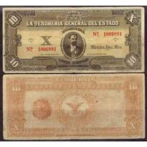 Si-yuc-7 Billete Del Estado De Yucatan De 10 Pesos