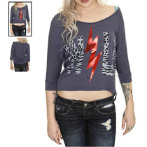 Hot Topic Blusa Wild Heather Blue Hi-lo Sweater Top Ch