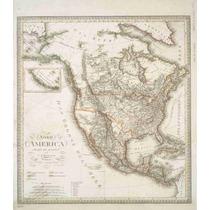 Lienzo Tela Mapa Norte América 1820 Alemania 57 X 50 Cm