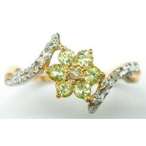 Anillo Oro 10kt Con Peridotos Y Diamantes