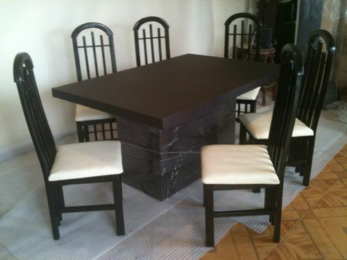 Comedor minimalista 6 sillas forrado en tacto piel dmm for Ver mesas y sillas de comedor