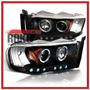 Faros Proyectores Negros Dodge Ram Pick Up 03 04 05 Hemi Eye