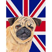 Pug Con Inglés Union Jack Británica Bandera De La Bandera