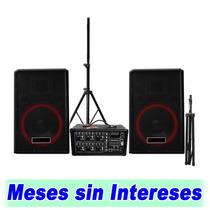 Set De Audio Mezcladora Amplificada Mas 2 Bafles Y 2 Tripies