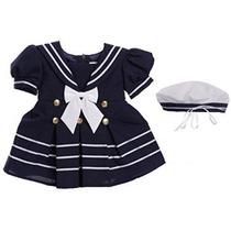 Classykidzshop White Girl Vestido De Marinero Con Azul Marin