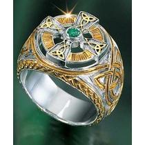 Anillo Cruz Celta Irlandes Esmeralda Plata 925 Amor Espadas