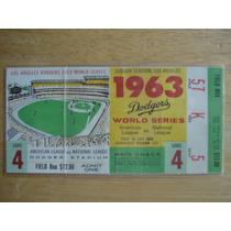 Boleto Serie Mundial 1963 Dodgers Stadium