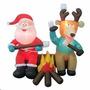 Inflable Navidad Santa Claus Y Reno En Fogata Adorno Navideñ