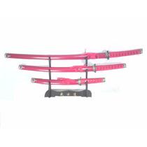 Set De 3 Katanas Rojas Ninja Samurai Artes Marciales Espada