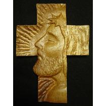 Cruz Rostro De Cristo - Madera De Parota - Talla Fina Maa