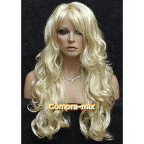 Peluca Super Natural Extra Larga Color Rubia Platinado,wsl