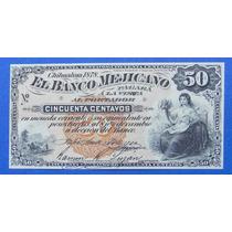 Billete México Banco Mejicano Chihuahua 1878 50 Centavos