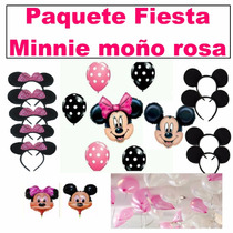 Paquete Fiesta Minnnie Moño Rosa Y Mickey Mouse,globo Mimi