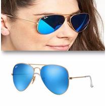 Lentes Ray Ban Aviator Rb 3025 112/17 Azul Espejo Promocion