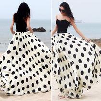 Falda Larga Lunares Polka Dots Elegante Moda Japonesa Linda