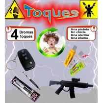 Bromas Toques 4pzas - Pistola, Chicle, Pluma Y Alarma