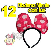 12 Diadema Moño De Tela C Luz Led Minnie Mimi Mouse Disney