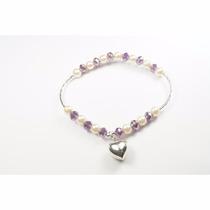 Pulsera Plata De Perlas Y Cristales Morados C/ Dije Corazón