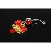 Piercing Moño Grande Rojo Oro Pie42