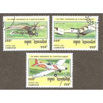 Estampillas De Aviones Camboya 1993, Aniv Santos Dumont