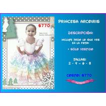Vestido Princesa Arcoiris Niña Disfraz Excelente Calidad