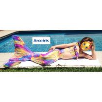 Cola De Sirena Arcoiris Niña Kit: Cola, Monoaleta Y Bikini