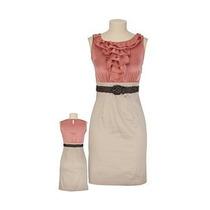 Vestido Dama Talla 1/2 (xs) Beige Con Coral Nuevo Au1