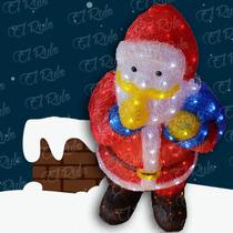 Figura Navideña En Acrílico Con Iluminación Led Santa Claus