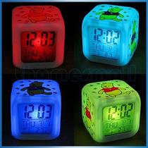 Reloj Led Despertador Cubo Winnie The Pooh Vv4