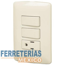 Placa Con 1 Contacto Y 2 Interruptores Sencill Voltech 48667
