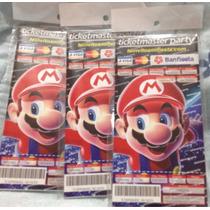 Mario Bross Invitaciones Con 10 Piezas Tipo Ticket Master