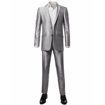 Elegante Traje Plateado Brillante Saco Pantalón Slim Fit 38r