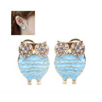 Aretes En Forma De Búho Con Diamantes De Imitación (azul)