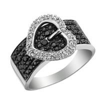 Blanco Y Negro Corazón Del Diamante De La Hebilla Del Anill