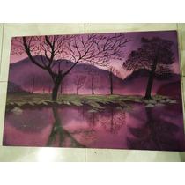 Paisaje Pintado A Mano 100% Oleo Decoracion Hogar 40 X 60 Cm