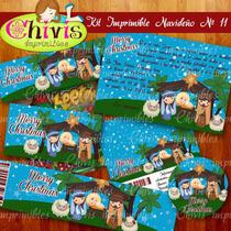 Kit Imprimible Navidad No 11 Tarjetas Invitaciones Candy Bar