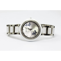 Reloj Blanco Con Plateado, Esfera Tornasol Y Mariposas R72