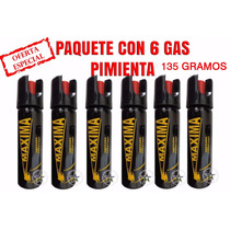 Gas Pimienta Lacrimogeno 135 Gramos Paquete De 6 Piezas $390
