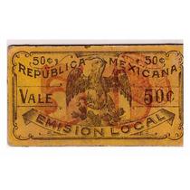 Billete De San Luis Potosí (cartoncito) 50 Centavos