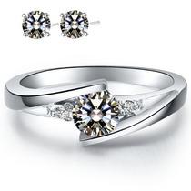Anillo De Compromiso Y Aretes Diamantes Ruso, Plata, Oro 18k