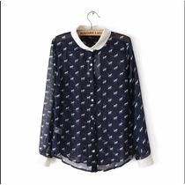 Blusa Camisa Moda Estampado Caballos Fashion