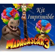 Kit Imprimible Madagascar 3 Invitaciones Tarjetas Marcos
