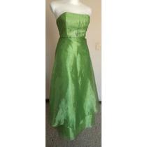 T-3 Jessica Mcclintock Lindo Vestido Verde Limón!! Vst957