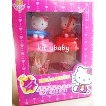 Fiesta De Hello Kitty, Paquete De 2 Vasos C/popote Y Figura