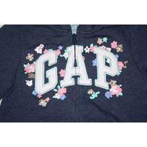 ~chamarra Gap C/gorro Y Cierre Niña Marino C/flores Talla 5